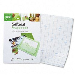 "SelfSeal Repositionable Laminating Sheets 3mm. 9"" x 12"" 10Pack (GBC3747410)"