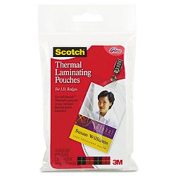"ID badge size thermal laminating pouches 5 mil 4 14"" x 2 15"" Pack of 10 (MMMTP585210)"