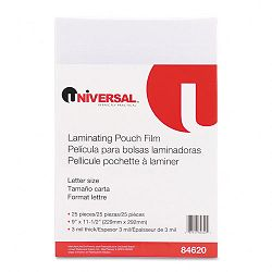 "Clear Laminating Pouches 3 mil 9"" x 11-12"" Pack of 25 (UNV84620)"