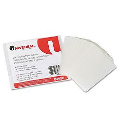 "Clear Laminating Pouches 5 mil 2-18"" x 3-38"" Business Card Style Pack of 25 (UNV84650)"