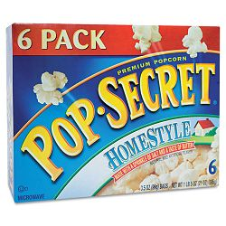 Microwave Popcorn Homestyle 3.5 oz Bags Box of 6 Bags (DFD24690)