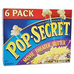 Microwave Popcorn Movie Theater Butter 3.5 oz Bags Box of 6 Bags (DFD57700)