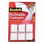 "Reclosable Hook and Loop Fastener Squares 78"" Wide White Pack of 24 Sets (MMMRF7120X)"