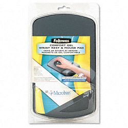 Gel Wrist Support And Mouse Pad with Antimicrob Protection GraphiteBlack (FEL9175101)