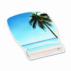 "Gel Mouse Pad with Wrist Rest Nonskid Plastic Base 6-34"" x 9-18"" Beach Design (MMMMW308BH)"