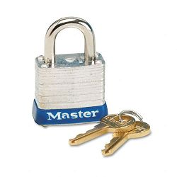 "Four-Pin Tumbler Laminated Steel Lock 2"" Wide SilverBlue Two Keys (MLK5D)"