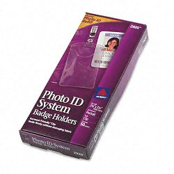 Photo ID Badge Holder Vertical 2 14w x 3 12h Clear 50Box (AVE2920)