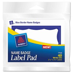 Name Badge Label Pads 3 x 4 BlueWhite 40Pack (AVE45144)