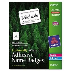 EcoFriendly Name Badge Labels 2-13 x 3-38 White 400Box (AVE45395)