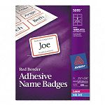 Flexible Self-Adhesive LaserInkjet Name Badge Labels 2-13 x 3-38 RD 400Bx (AVE5095)