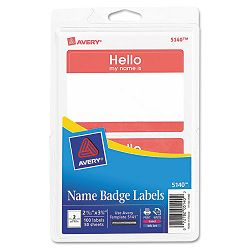PrintWrite Self-Adhesive Name Badges 2-1132 x 3-38 Red 100Pack (AVE5140)