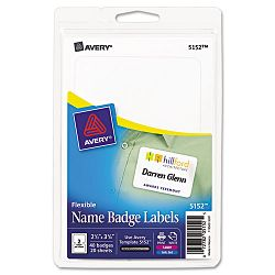 Flexible Self-Adhesive LaserInkjet Name Badge Labels 2-13 x 3-38 WE 40Pk (AVE5152)