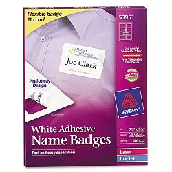 Flexible Self-Adhesive LaserInkjet Name Badge Labels 2-13 x 3-38 WE 400Bx (AVE5395)