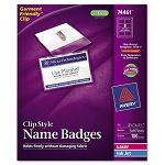 Badge Holders with LaserInkjet Inserts Top Load 2-14 x 3-12 White 100Box (AVE74461)