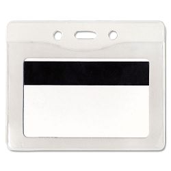 Security ID Badge Holder Horizontal 3 78w x 2 58h Clear 50Box (AVT75411)