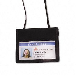 ID Badge Holder with Convention Neck Pouch Horizontal 4w x 2 14h Black 12Pack (AVT75452)