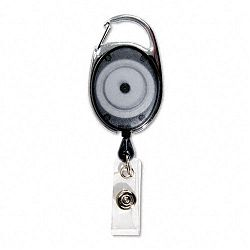 "Carabiner-Style Retractable ID Card Reel 30"" Extension Smoke 12Pack (AVT75551)"
