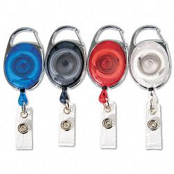 "Carabiner-Style Retractable ID Card Reel 30"" Extension Assorted Colors 20PK (AVT75552)"