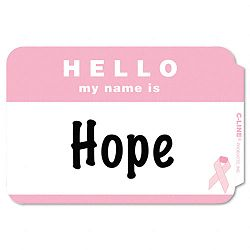 Self-Adhesive Pink Ribbon Name Badges 2-14 x 3-12 Pink 75Box (CLI92244)