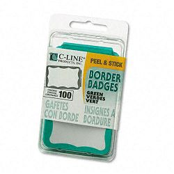 Self-Adhesive Name Badges 2 x 3-12 Green 100Box (CLI92263)