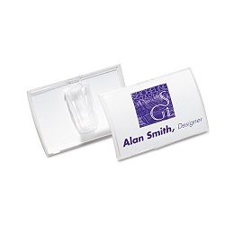 Click-Fold Convex Name Badge Holder Slip-On Clip 3 3w x 2 14h Clear 25Pk (DBL821319)