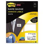 Removable Name Badge Labels 2-13 x 3-38 White 160Pack (MMM2800M)