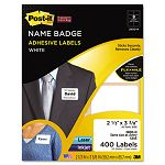 Removable Name Badge Labels 2-13 x 3-38 White 400Pack (MMM2800N)