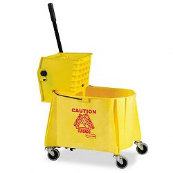 WaveBrake 44-Quart BucketSideward Pressure Wringer Combination Yellow (RCP618688YW)