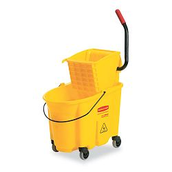 Wavebrake 26-Quart Side Press Mop Bucket & Wringer Combo Yellow (RCP748018YW)