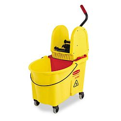 WaveBrake 44-Quart BucketDownward Pressure Wringer Combination Yellow (RCP757688YW)