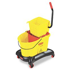 Wavebrake 35-Qt Dual Water Side Press Mop Bucket & Wringer Yellow (RCP768000YW)