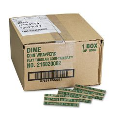 Pop-Open Flat Paper Coin Wrappers Dimes $5 Box of 1000 (MMF216020002)