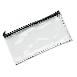 "Leatherette Zippered Wallet Leather-Like Vinyl 11""w x 6""h Clear (MMF234041720)"