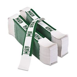Color-Coded Kraft Currency Straps Dollar Bill $200 Self-Adhesive Pack of 1000 (PMC55028)