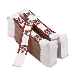 Color-Coded Kraft Currency Straps $50 Bill $5000 Self-Adhesive Pack of 1000 (PMC55033)