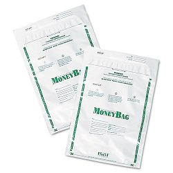 Biodegradable Plastic Money Bags Tamper Evident 9 x 12 White Pack of 50 (PMC58020)