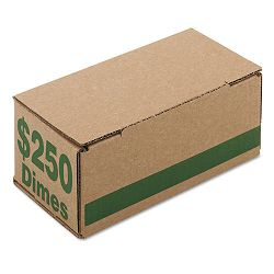 Corrugated Cardboard Coin Storage with Denomination Printed On Side Green (PMC61010)
