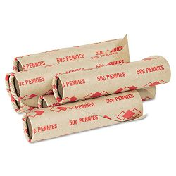Preformed Tubular Coin Wrappers Pennies $.50 Carton of 1000 (PMC65029)