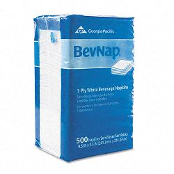 Beverage Napkins Single-Ply 9-12 x 9-12 White 4000Carton (GEP96019)