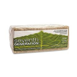 100% Recycled Napkins One-Ply Luncheon Napkins 11-12 x 13 Natural 500Pack (SEV13705)