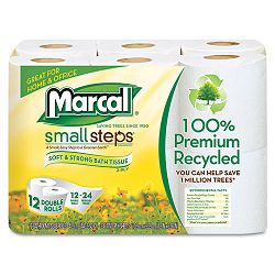 100% Recycled Double Roll Bathroom Tissue Pack of 12 Rolls (MRC6112)
