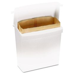 "Wax-Coated Sanitary Napkin Bags Brown 9 34""w x 3 34""d x 9 78""h Carton of 250 (RCP6141WHICT)"