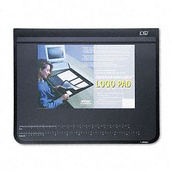 "Logo Pad Desktop Organizer with Clear Overlay 24"" x 19"" Black (AOP41100S)"