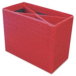 "ProFormance Crocodile Embossed Pencil Cup 5 38"" x 2 x 4 18"" Red (AUA10208)"