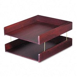 Hardwood Double Letter Desk Tray Two Tier Mahogany (CVR02213)