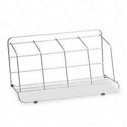 "Four-Section Wire Catalog Rack Metal 16 12"" x 10"" x 8"" Silver (FEL10402)"