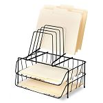 "Double Tray with Step File Eight Sections Wire 13 78"" x 10 18"" x 14"" Black (FEL72391)"