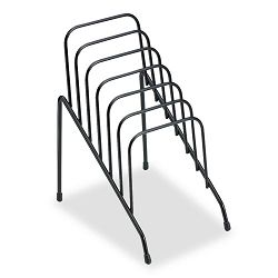 "Wire Step File Junior Six Sections 4 38"" x 6 12"" x 7 34 Black (FEL72613)"