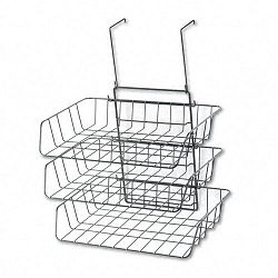 "Wire Partition Additions Three-Tray Organizer 13 12"" x 11 78"" Black (FEL75310)"