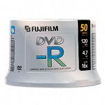 Inkjet Printable DVD-R Discs 4.7GB 16x Spindle White Pack of 50 (FUJ25302082)
